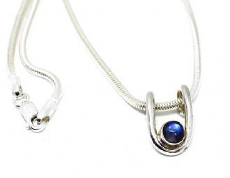Rainbow Moonstone silver pendant on snake chain